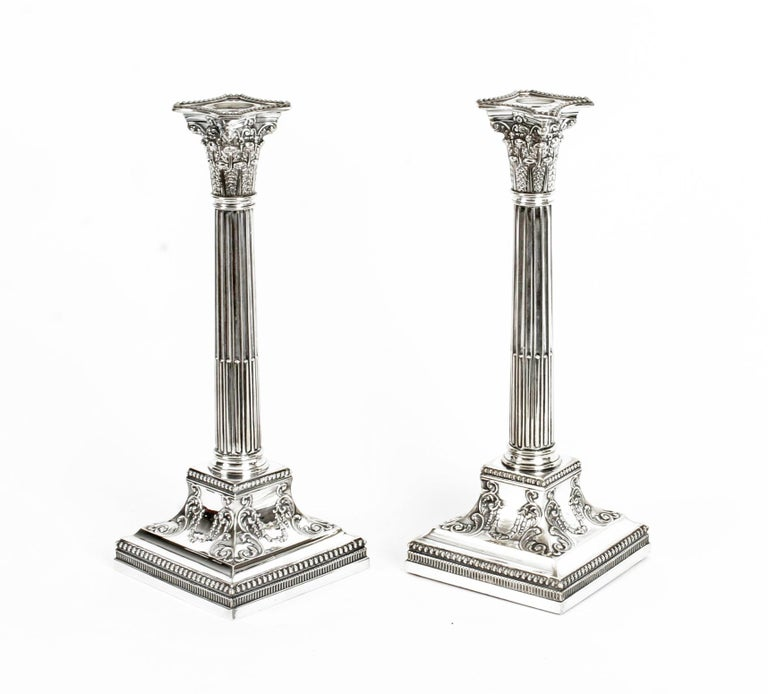 Antique Pair of Silver Plated Candlesticks by James Dixon, 19th Century For Sale 12