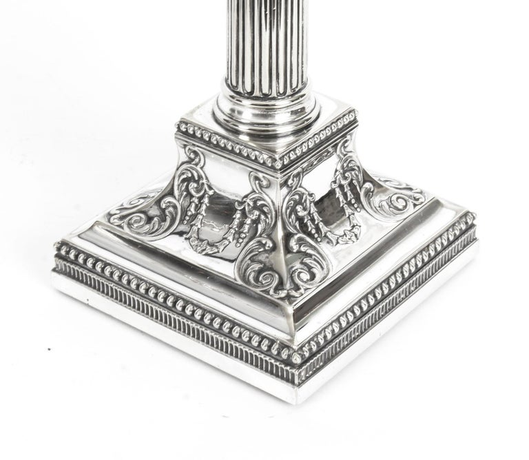 Antique Pair of Silver Plated Candlesticks by James Dixon, 19th Century For Sale 1