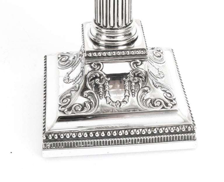 Antique Pair of Silver Plated Candlesticks by James Dixon, 19th Century For Sale 2