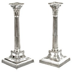 Antique Pair of Silver Plated Candlesticks by James Dixon, 19th Century