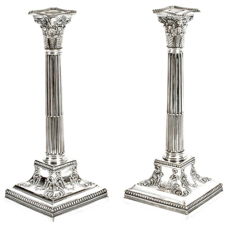 Antique Pair of Silver Plated Candlesticks by James Dixon, 19th Century For Sale