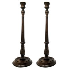 Antique Pair Solid Mahogany Walnut Carved Treen Desk Candlesticks Candelabra 19C