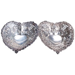 Antique Pair Sterling Silver Gorham Heart Shaped Reticulated and Footed Dishes