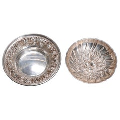 Pair of Sterling Silver Kirk & Stieff Repousse Nut Bowls, circa 1900 6.7 toz