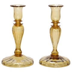 Antique Pair Steuben Amber Glass Balustrade Candlesticks, 20th Century