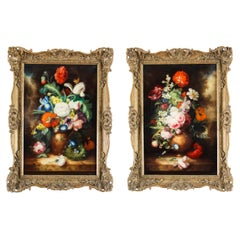 Antique Pair Still Life Oil Paintings European School, 19th Century