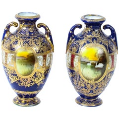 Antique Pair Taisho Period Noritake Hand Painted Porcelain Vases, 1920s