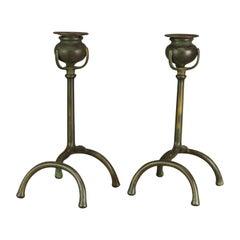 Antique Pair Tiffany Studios Bronze Root Candlesticks, c1900