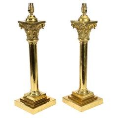 Antique Pair Victorian Brass Corinthian Column Table Lamps, 19th C