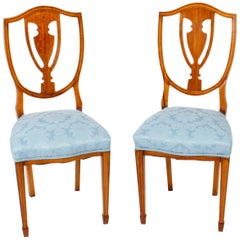 Antique Pair of Victorian Satinwood Shield Back Desk Chairs, 19th Century