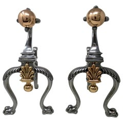 Antique Pair of Victorian Steel Copper Fireplace Andirons, Chenets or Fire Dogs