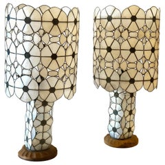 Antique Paire of Capiz Shell Table Lamps