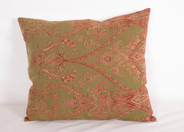 French Antique Paisley Wool Pillow Cases, 19th Century For Sale