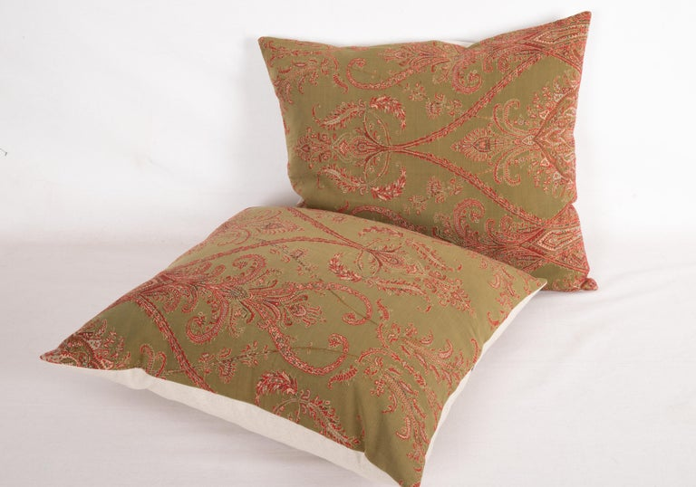Woven Antique Paisley Wool Pillow Cases, 19th Century For Sale