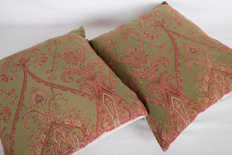 Antique Paisley Wool Pillow Cases, 19th Century For Sale 1