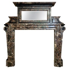 Antique Palladian Style Fireplace Mantel in Marrone Breccia Marble