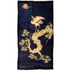 Antique Pao Tou Crane Chinese Rug, Early 20th Century