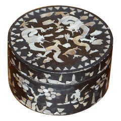 Antique Paper Mache Mother of Pearl Chinese Dragon Lacquer Trinket Box