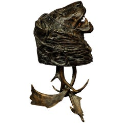 Antique Papier Mâche Lion Head Basket on Antler Base, 1880