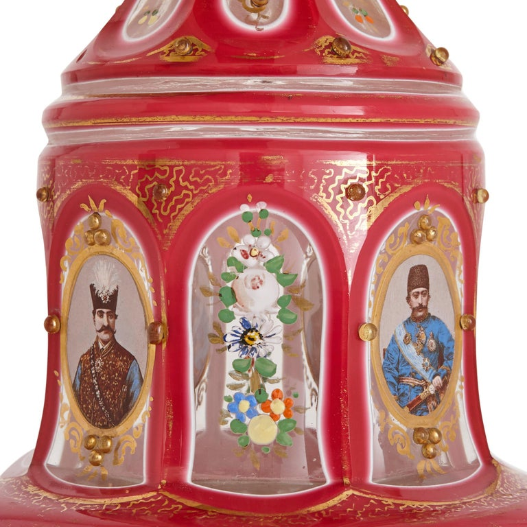 Czech Antique Parcel-Gilt and Enamelled Pink Overlay Clear Glass Huqqa For Sale