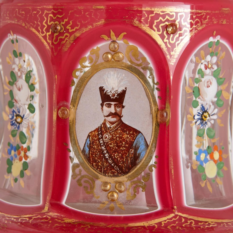 Enameled Antique Parcel-Gilt and Enamelled Pink Overlay Clear Glass Huqqa For Sale