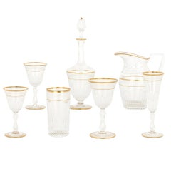 Antique Parcel Gilt Glass Fifty-Eight Piece Drinking Set by St-Louis Crystal