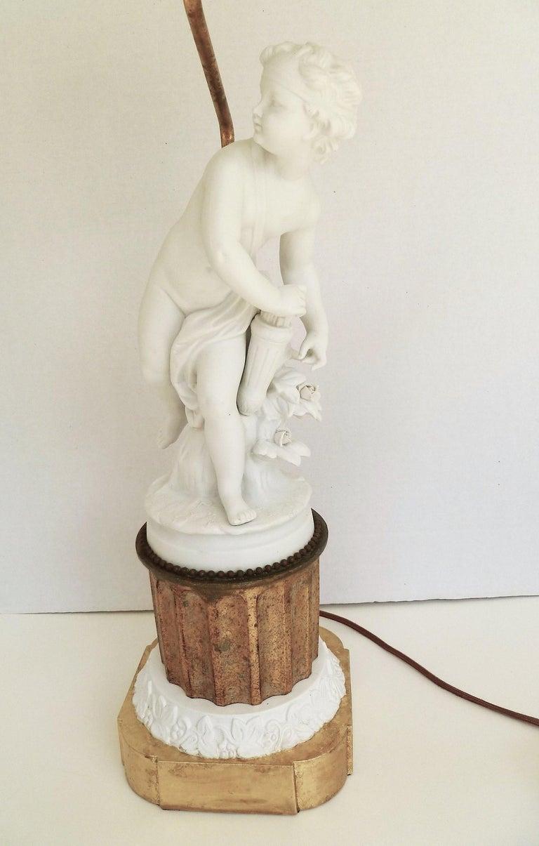 Antique Parian Eros on Gilt Pedestal Table Lamp For Sale 3