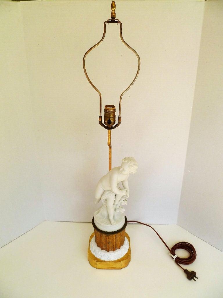 Antique Parian Eros on Gilt Pedestal Table Lamp For Sale 4