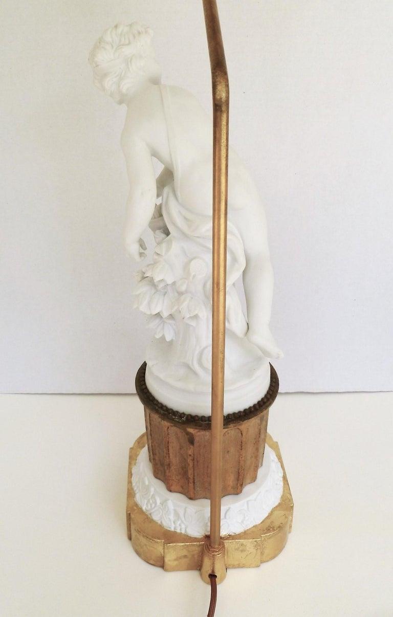 Antique Parian Eros on Gilt Pedestal Table Lamp For Sale 6