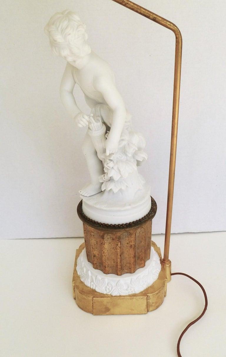 Antique Parian Eros on Gilt Pedestal Table Lamp For Sale 7