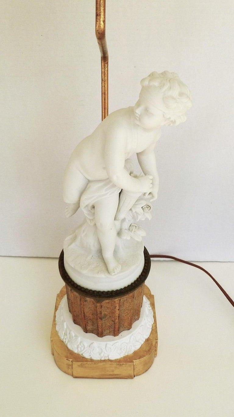 Romantic Antique Parian Eros on Gilt Pedestal Table Lamp For Sale
