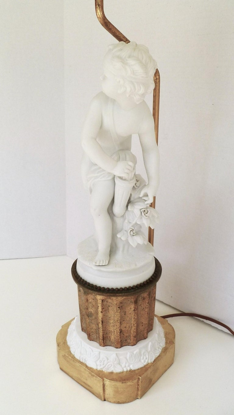 Antique Parian Eros on Gilt Pedestal Table Lamp In Good Condition For Sale In Miami, FL