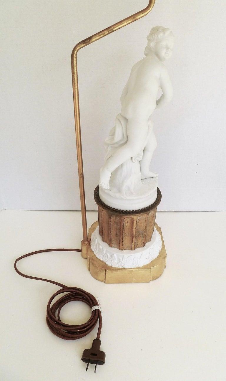 Antique Parian Eros on Gilt Pedestal Table Lamp For Sale 1