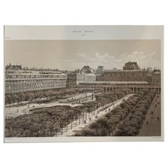 Antique Paris Print Palais Royal 1880 F Sorrieu Lithograph Hoffbauer