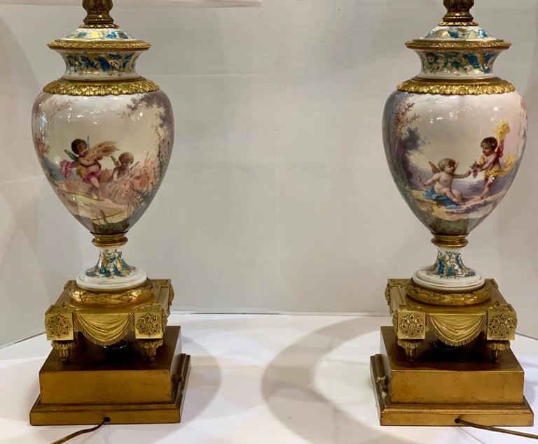 Antique Paris Sevres Louis XVI Style Gilt Bronze Charles Labarre Lamps 5
