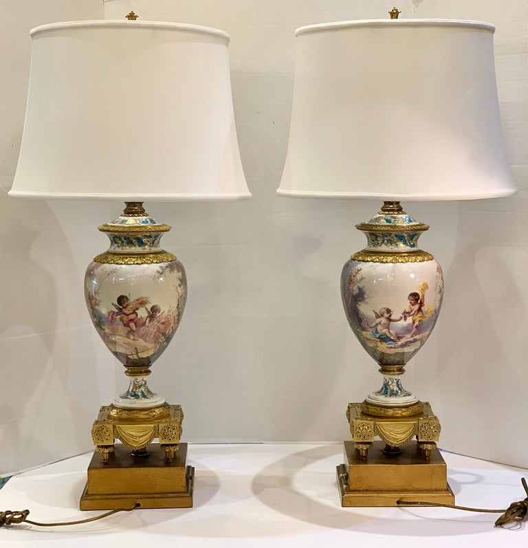 Antique Paris Sevres Louis XVI Style Gilt Bronze Charles Labarre Lamps For Sale 6