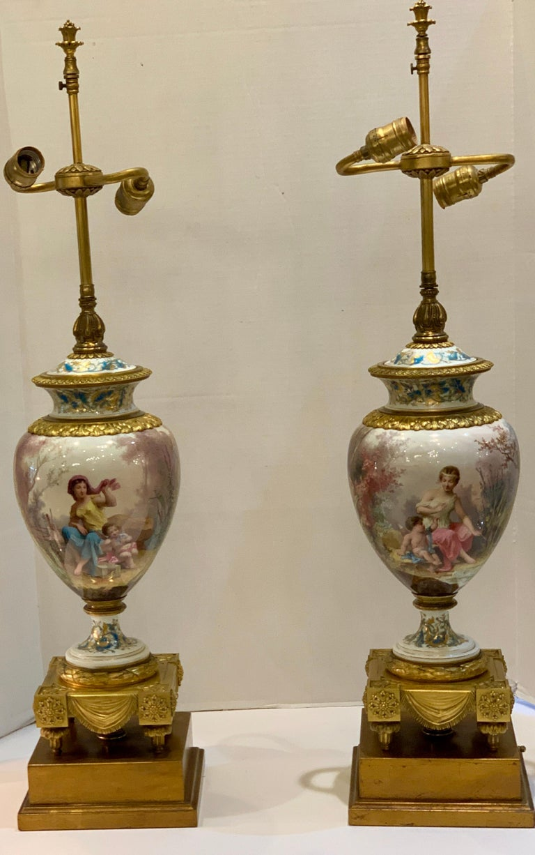 Antique Paris Sevres Louis XVI Style Gilt Bronze Charles Labarre Lamps For Sale 13