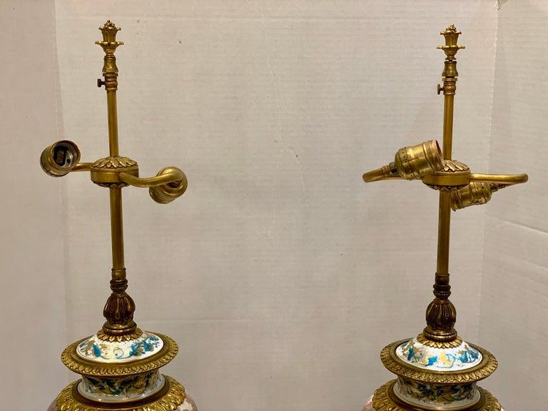 Antique Paris Sevres Louis XVI Style Gilt Bronze Charles Labarre Lamps 14