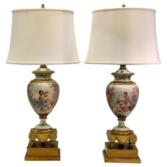 Antique Paris Sevres Louis XVI Style Gilt Bronze Charles Labarre Lamps