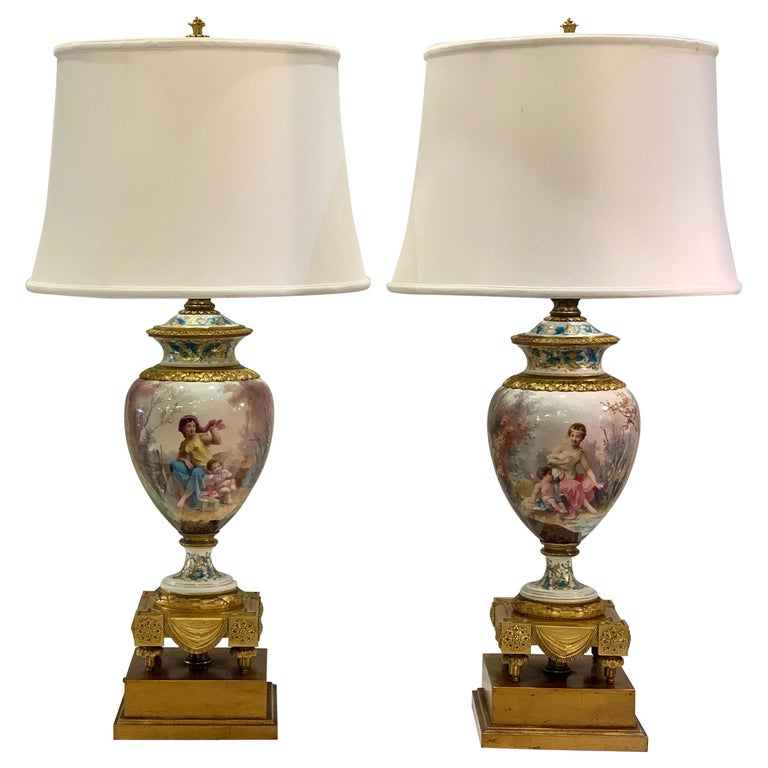 Antique Paris Sevres Louis XVI Style Gilt Bronze Charles Labarre Lamps For Sale