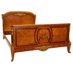 Antique Parisian Marquetry and Gilt Bronze Bed by Au Gros Chêne