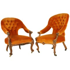Antique Parlor Chairs, Button Back, Victorian Ladies Chairs, Scotland, 1870