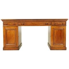 Antique Partners Desk, Walnut Desk, Victorian, 24 Drawers, Scotland 1870, B1371