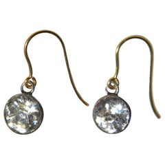 Antique Paste Silver and 9 Karat Gold Drop Earrings