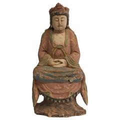 Antique Pastel Colored Wooden Kwan Yin Bodhisattva