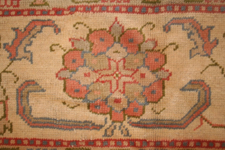 Hand-Knotted Antique Pastel Coloured Turkish Oushak Rug For Sale