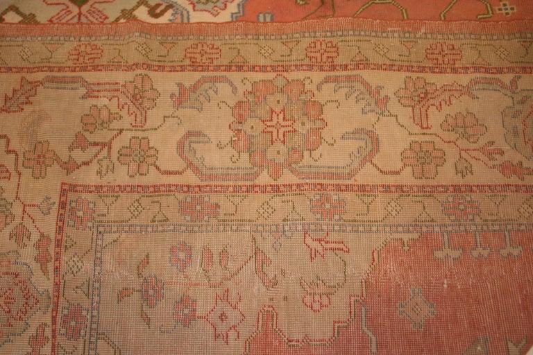 Antique Pastel Coloured Turkish Oushak Rug For Sale 1