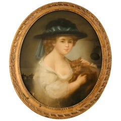 Antique Pastel Painting of Young Girl with Hat Holding Her Cat Signed Drouet