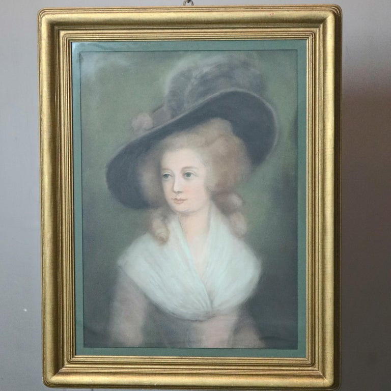 An antique pastel portrait painting of Victorian maiden in feathered hat, seated in giltwood frame, 20th century  DELIVERY NOTICE – Due to COVID-19 we are employing NO-CONTACT PRACTICES in the transfer of purchased items.  Additionally, for those
