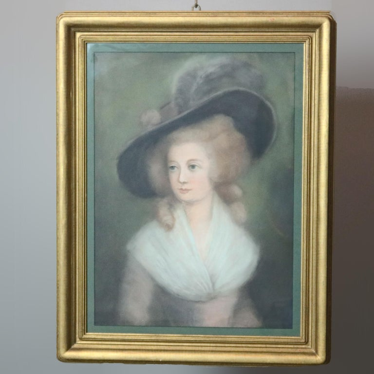 European Antique Pastel Portrait Painting of Victorian Woman in Hat, 20th Century For Sale